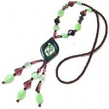 Indian Jade Beaded Necklace Big Various Beads Long Fringe