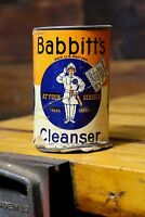 Vintage Babbitts Cleanser Tin / Cardboard Can Bathroom Advertising New York Old