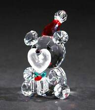 New Crystal World Santa Bear W/ Gift Figurine Miniature