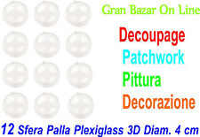 NATALE SFERA PALLINA PLEXIGLASS 12 Pz DIAM Cm 4 DECOUPAGE PATCHWORK PITTURA