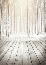 Winter Tree Photography Backdrops Vinyl Wooden Floor Photo Background Baby 5x7ft