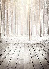 Winter Tree Photography Backdrops Vinyl Wooden Floor Photo Background Baby 5x7ft