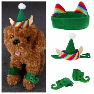 Pet Dog Cat Green Elf Costumes Hat+Neck Collar+Foot Sleeve Christmas Fancy Dress