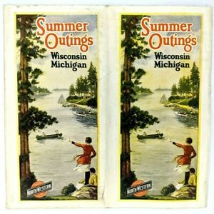 1921 Chicago North Western Railway Wisconsin Michigan Summer Outings Brochure 3E