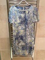 Erdem Blue Knee Lenth Dress Woth A Short Sleeve Size UK10 Worn Once