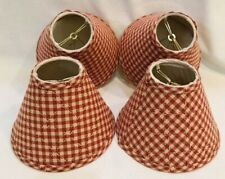 """Set of 4 Fabric Lamp Shades 6"""" Gingham Check Red Country Decor Ring Clip Style"""