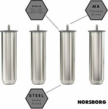 "4 IKEA NORSBORG 7 1/8"" FURNITURE SOFA LEGS  COUCH  BED  CHAIR  Steel M8 screw"