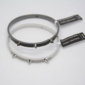Banana Republic jewelry silver tone black Cubic Zirconia bangle snap bracelet