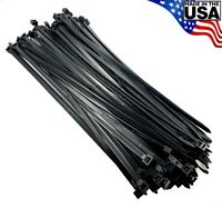 """Zip Cable Ties 14"""" 120lbs 100pc UV Black Made in USA Nylon Wire Tie Wraps"""