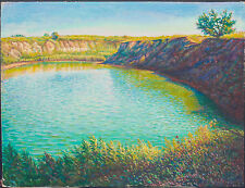 ORIGINAL OIL Painting Hand painted pond Landscape Artwork wall ART decor nature