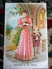 PostCard Hallowed be thy Name 1908 Victorian Lady 1 cent Green Stamp Vintag