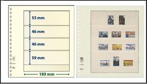 5 LINDNER 802404 T-Blanko-Blätter Blankoblätter 4 Taschen 55/46/46/59x189mm
