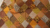 "Vintage Cotton Fabric MID CENTURY PAISLEY PATCHWORK Orange,Brown,Gold 1 Yd/36"""