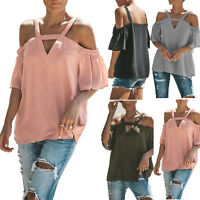 Women Cold Shoulder Short Sleeve T Shirt V Neck Summer Casual Baggy Tops Blouse