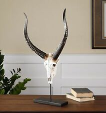 """LARGE 28"""" NATURAL LOOKING RUSTIC SKULL WITH LONG HORNS SCULPTURE ON BLACK STAND"""