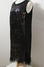 MICHAEL KORS Black Bronze Feather Sequin Sleeveless Sheath Dress NWOT 10