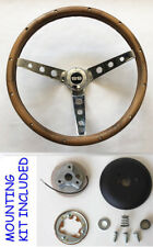 "Grant Steering Wheel Real Wood Fits Ididit Flaming River Column 13 1/2"" SS Cap"