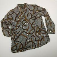Lauren Ralph Lauren Equestrian Horse Shirt Blouse Cotton Button Up Black size 2X