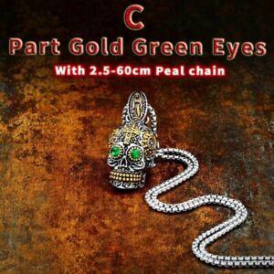 Mens Gothic 10k Gold Skull Pendant Necklace Carved Biker Stainless Steel Punk
