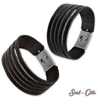 Lederarmband mit Verschluss dunkelbraun braun schwarz Armband Leder Surf