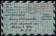 GERMANY 1948 100pf AIR LETTER USED TO THE U.S. Regensburg OH Sep. 1948 CDS Frank