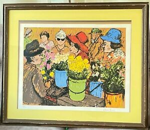 David Azuz,  Flowers Market , Lithograph, Signed And Numbered in Pencil