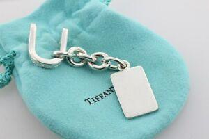 Tiffany & Co Silver Vintage Half Shackle Engravable Tag Dangle Chain Keychain