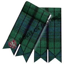 Men's Highland Scottish Kilt Hose Sock Flashes Black Watch Tartan Garter Pointed