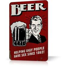 METAL TIN SIGN BEER HAPPY UGLY PEOPLE RETRO Vintage Poster Decor Home Bar Pub