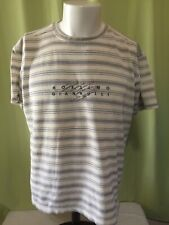 Vintage Mossimo Giannulli Men's Brown Stripe T Shirt Size Large