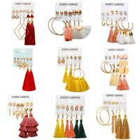 6Pairs Bohemian Tassel Crystal Pearl Earrings Set Women Ear Stud Dangle Jewelry