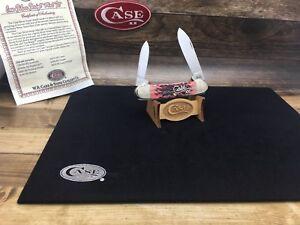 2011 Case Silver Script Canoe Knife Scrolled Cranberry Bone Mint -SN#:156