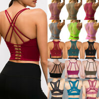 Women's Mesh Padded Sports Bra Crop Tops Yoga Gym Workout Fitness Vest Shaper US