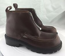 Vintage 9 & Co Front Zip Up Brown Leather Ankle Boot Women's Size 10