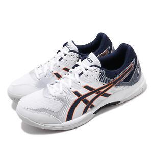 Asics Gel-Rocket 9 White Peacoat Orange Men Volleyball Shoe Sneaker 1071A030-102