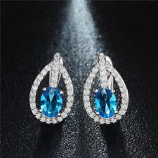 Pretty New Silver Plated Blue Topaz & Crystal CZ Leverback Huggie Hoop Earrings