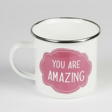 sass & belle Becher YOU ARE AMAZING weiß Metall Emaille Tasse Kaffeebecher