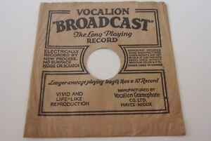 VINTAGE VOCALION BROADCAST  9 inch SLEEVE for78 RPM RECORDS 1930's CLEAN EXAMPLE