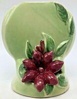 Vintage Christmas Poinsettia Flower Zano Pottery Vase Green Red