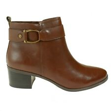 Anne Klein Women's Bootie Jeannie Cognac Leather Almond Toe Fashion Size 10 M