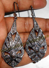 REPRO HAND-MADE 1.70ct ANTIQUE ROSE CUT DIAMOND SILVER VICTORIAN DANGLE EARRINGS