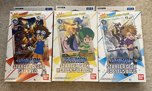 2020 Digimon CCG Starter Deck Lot Of 3 Gaia Red, Cocytus Blue, Heaven Yellow ENG