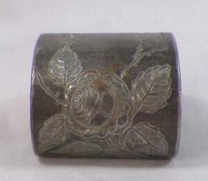 Antique Silverplate Napkin Ring Engraved Roses Victorian Brite Cut #3