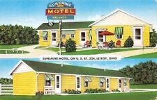 SUNSHINE MOTEL Le Roy, Ohio US Route 224 Roadside Vintage Postcard ca 1950s