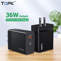 Topk 36W PD+QC3.0 USB Type C Charger Fast Charging Wall Power Adapter US EU Plug