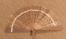 """Antique Vintage European Art Deco Pierced Celluloid Hand Fan 5.5"""""""