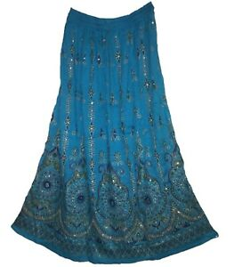 Rayon Skirt Indian Gypsy Retro For Women Ehs Look Kjol Boho Jupe Hippy Falda Vtg