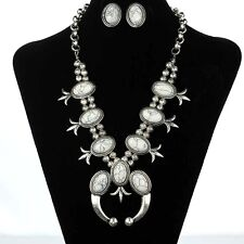 SALE Squash Blossom Necklace Set Cream Howlite Stone Fashion Jewelry