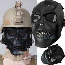 Black Skull Skeleton Full Face Mask Tactical Paintball Airsoft Protect Safety US