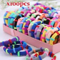 100Pcs Set Nylon Hairband Girls Soft Elastic Hair Tie Ponytail Holder for Kids